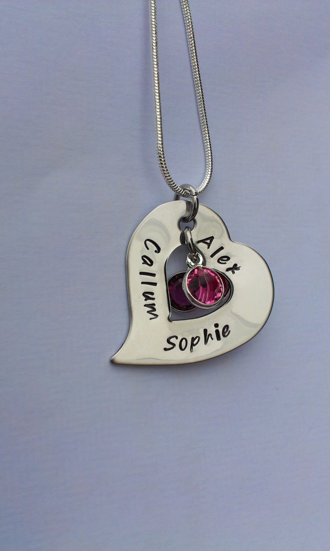 Hand stamped tilted heart washer necklace
