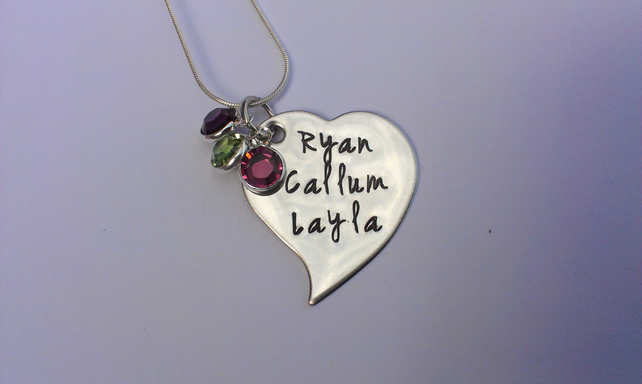 Hand Stamped personalised tilted heart name necklace