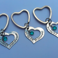 Hand stamped personalised heart keyring for bridesmaids