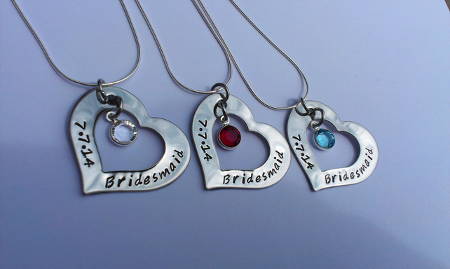 Hand stamped personalised necklaces for bridesmaids