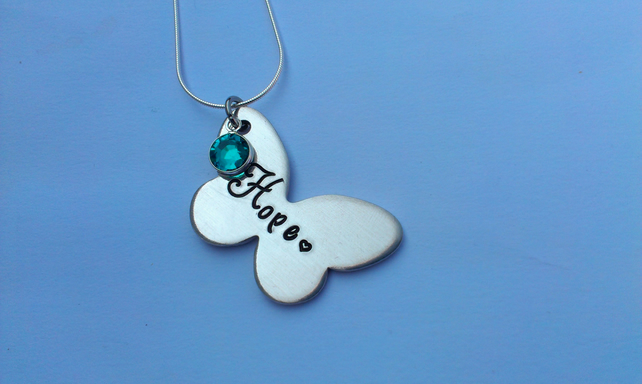 Hand stamped personalised butterfly name necklace with swarovski crystals