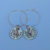 Hand stamped personalised bride and groom wedding wine glass charms