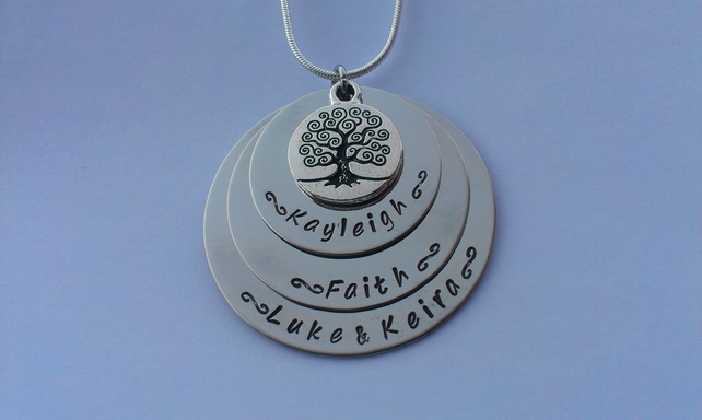 Hand Stamped personalised family tree triple stacked name necklace