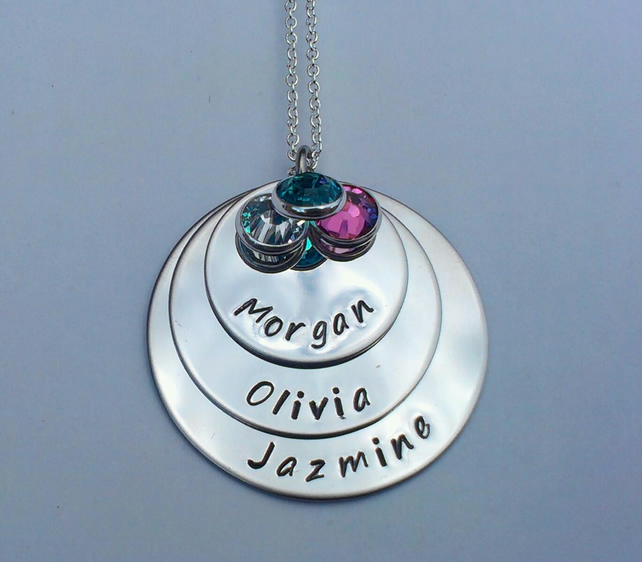 Hand Stamped personalised triple stacked name necklace