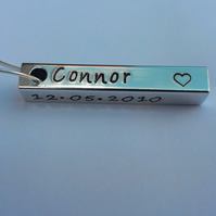 Hand Stamped personalised four sided bar pendant on stainless steel ball chain