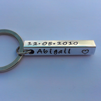 Hand Stamped personalised four sided bar keyring