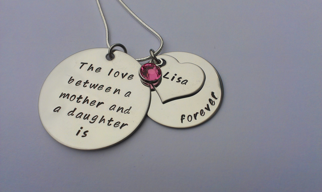 The love between a mother and daughter is forever personalised necklace