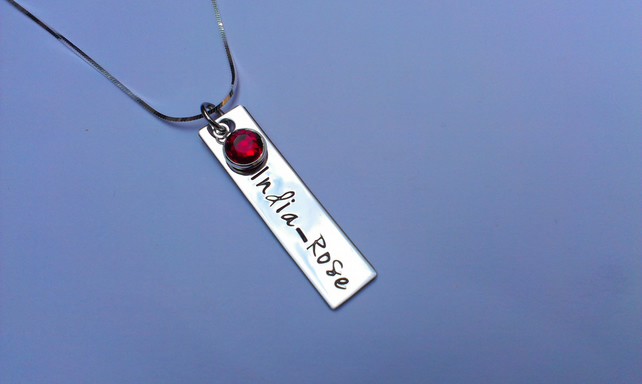 Hand Stamped personalised rectangle single tag name necklace