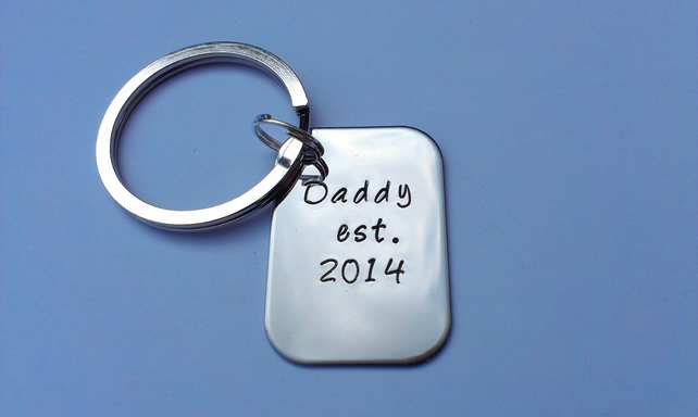 Hand stamped stainless steel Daddy est established keyring