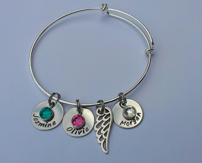 Hand Stamped personalised adjustable charm bangle bracelet with angel wing charm