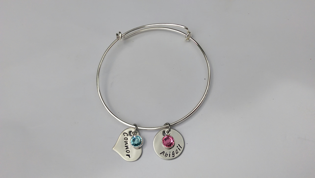 Hand Stamped personalised adjustable bracelet with name and birthdate charms