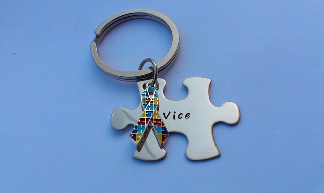 Hand Stamped personalised Autism awareness puzzle jigsaw piece keyring