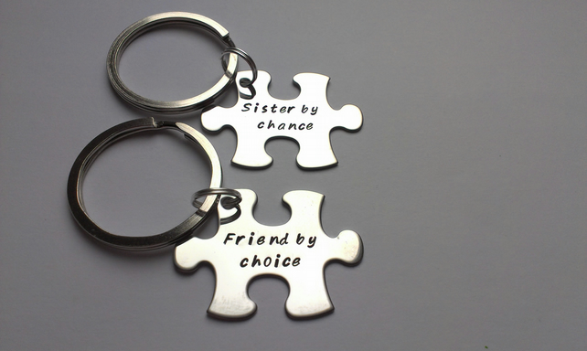 Hand Stamped puzzle jigsaw piece keyrings Sisters by chance, friends by choice