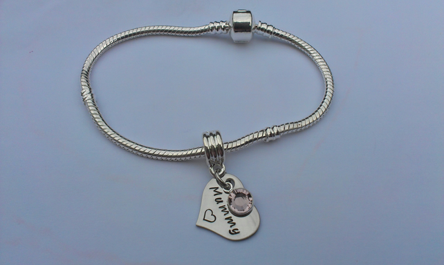 Hand Stamped personalised charm bracelet