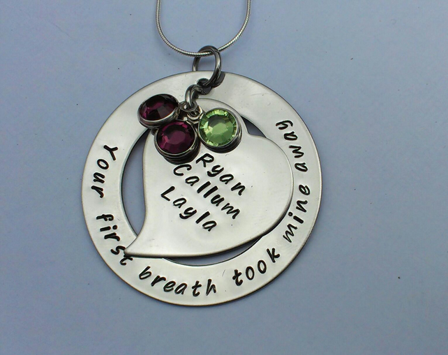 Your first breath took mine away hand stamped personalised necklace large