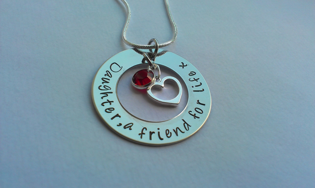 Daughter, a friend for life hand stamped personalised necklace