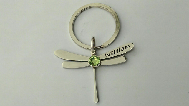 Hand Stamped personalised dragonfly name keyring