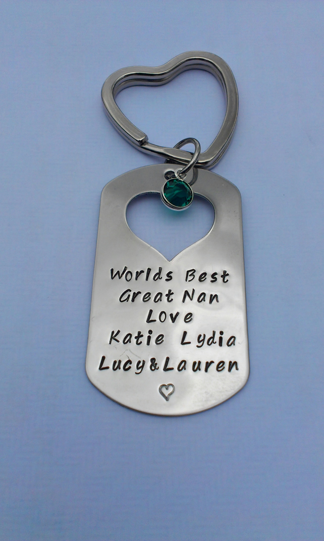 Hand stamped personalised stainless steel Worlds Best Mum Grandma Auntie Keyring