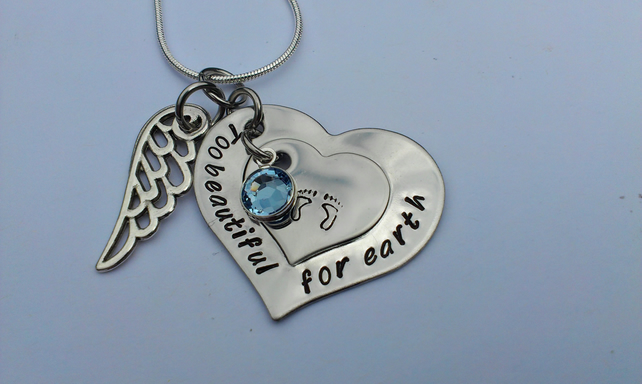 Hand stamped personalised Too beautiful for earth remembrance necklace