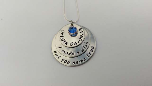 Hand Stamped personalised stacked I or We made a wish and you came true necklace