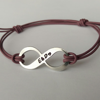 Hand stamped personalised Infinity leather cord adjustable bracelet