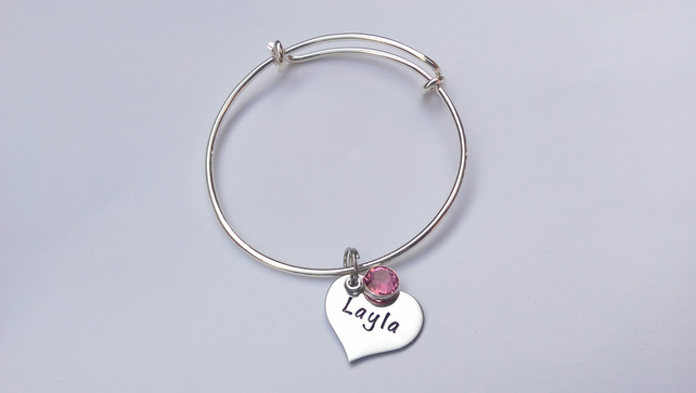 Hand Stamped personalised childrens adjustable bracelet with name charms
