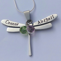 Hand Stamped personalised dragonfly name necklace