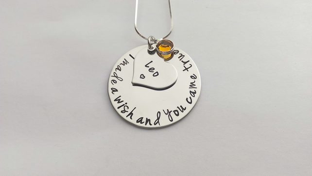 I made a wish and you came true hand stamped personalised necklace