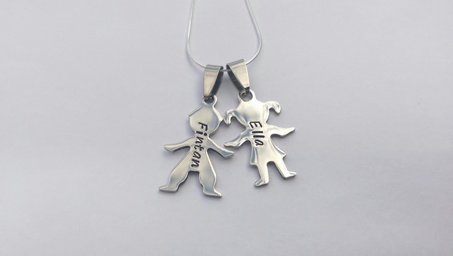 Hand Stamped personalised Boy Girl figure silhouette name necklace (2)