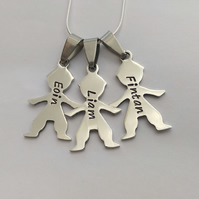 Hand Stamped personalised Boy Girl figure silhouette name necklace (3)