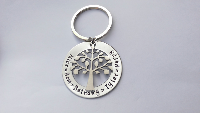 Hand Stamped personalised family tree name keyring