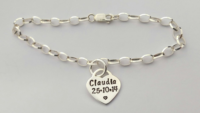 Hand stamped personalised sterling silver tiffany style heart bracelet