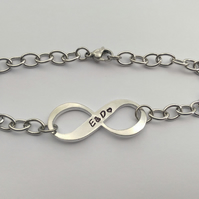 Hand stamped personalised Infinity bracelet