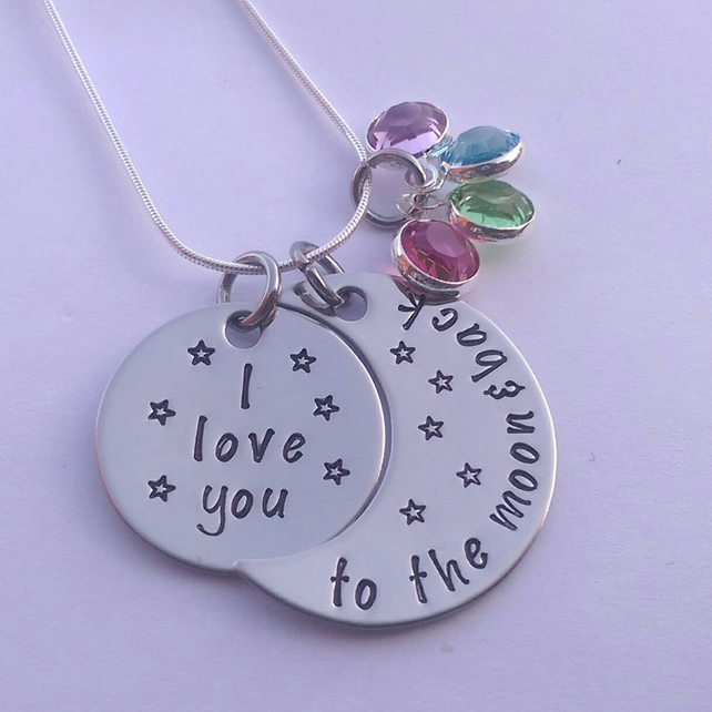 I love you to the moon and back personalised necklace with birthstone crystals