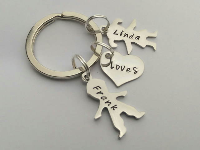 Hand Stamped personalised couples figire silhouette name keyring