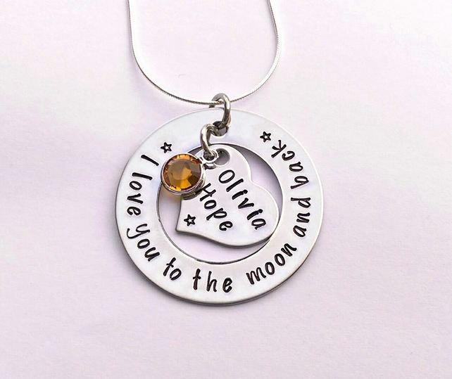Personalised I love you to the moon and back hand stamped necklace