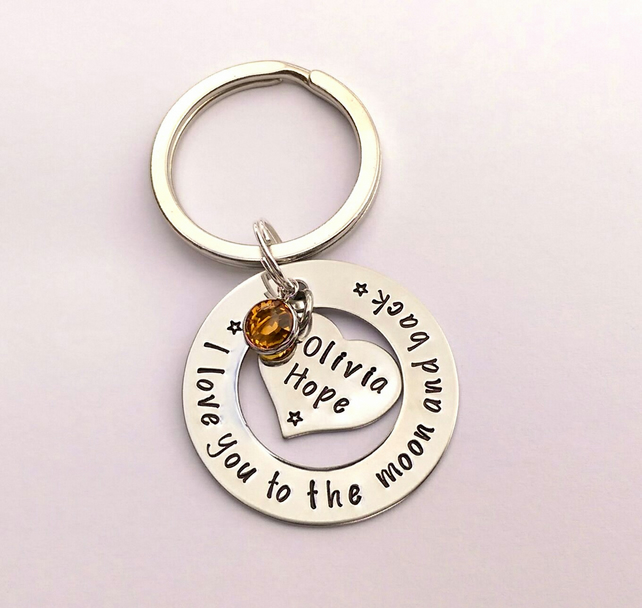 Personalised I love you to the moon and back hand stamped keyring