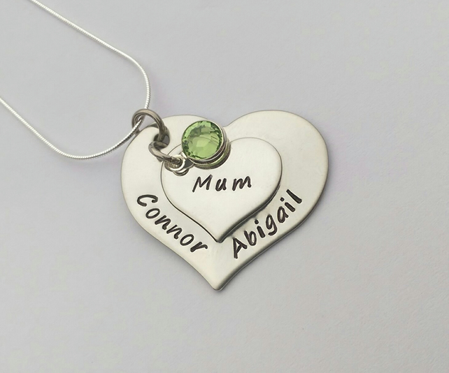 Hand stamped personalised double heart name necklace with birthstones