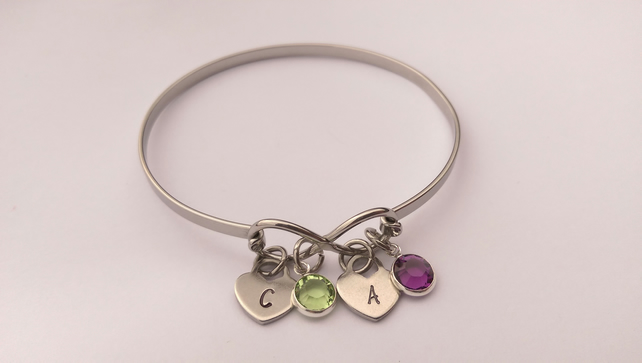 Personalised Infinity bracelet with swarovski crystals