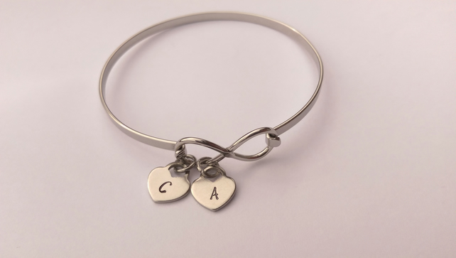 Personalised Infinity bracelet with initial charms