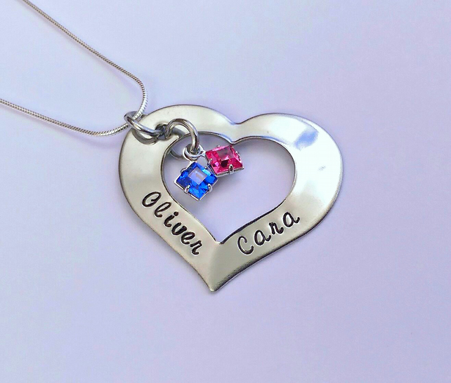 Heart Washer Pendant with square swarovski crystal birthstones