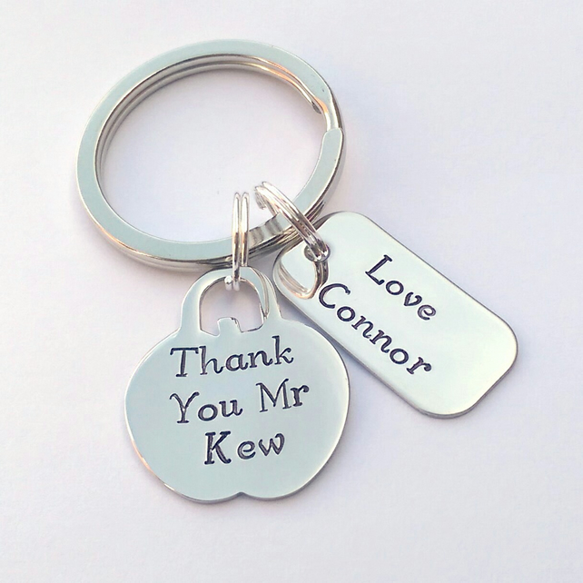 Hand stamped personalised Teacher Thank you present apple keyring