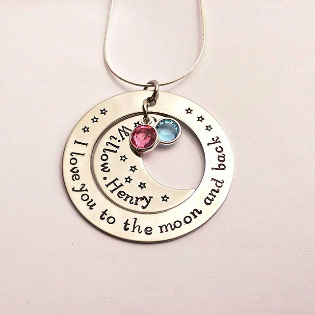 I love you to the moon and back hand stamped personalised necklace (V2)