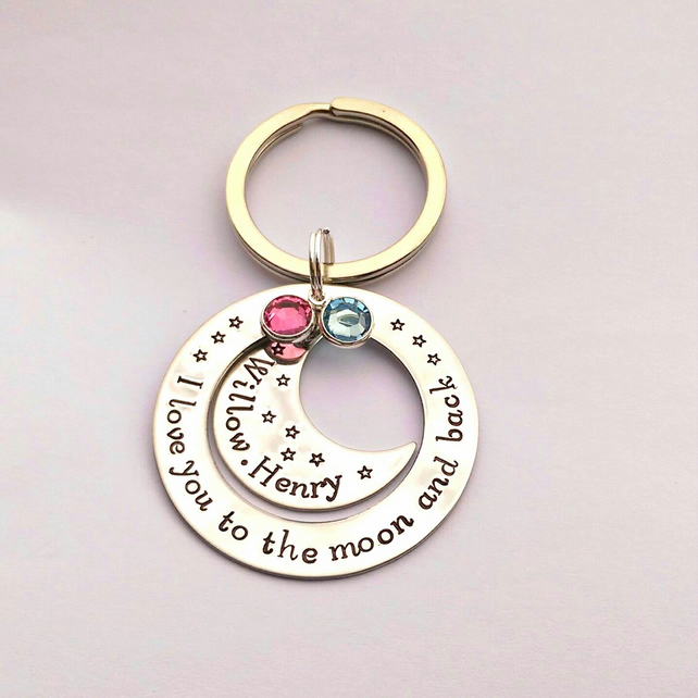 I love you to the moon and back hand stamped personalised keyring (v2)