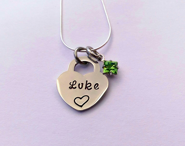Hand stamped personalised heart pendant with square birthstone crystal