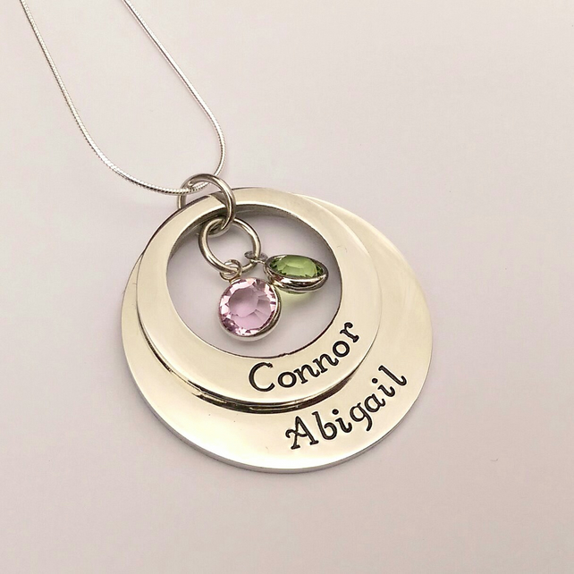 Personalised double offset washer name and birthstone necklace