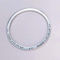 Personalised bangle -hand stamped