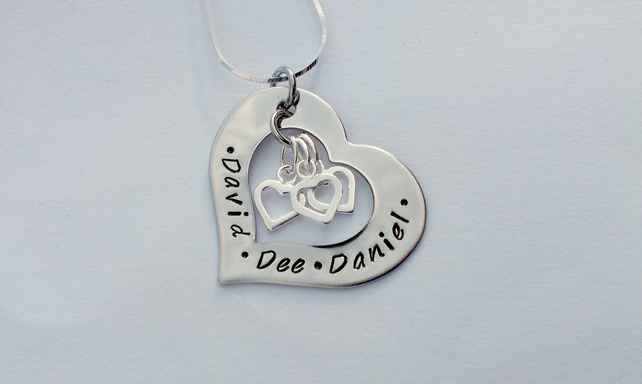 Hand Stamped personalised heart washer name necklace with heart charms
