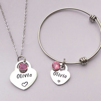 Personalised childrens heart bracelet and necklace set