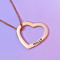 Personalised Rose Gold heart washer necklace